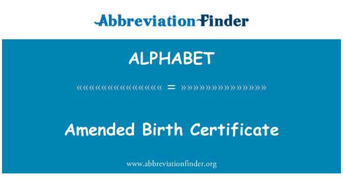 ALPHABET: Certificado de nacimiento modificada
