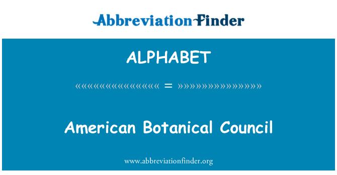 ALPHABET: American Botanical Council