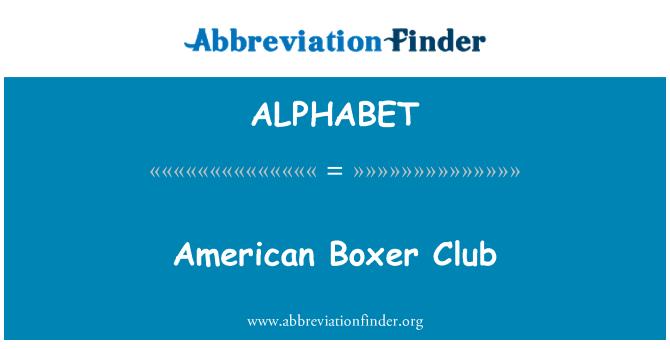 ALPHABET: Boxeador estadounidense Club