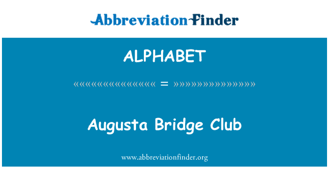 ALPHABET: Club de Bridge de Augusta