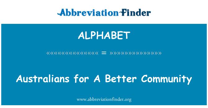 ALPHABET: Australianos para una mejor comunidad