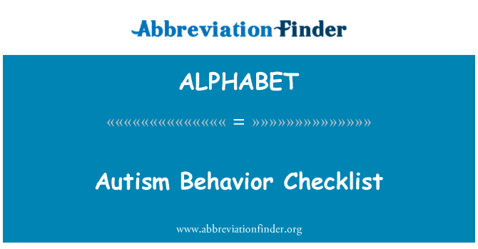 ALPHABET: Lista de comportamiento autista