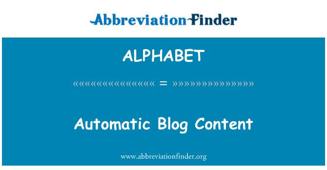 ALPHABET: Contenido de Blog automático