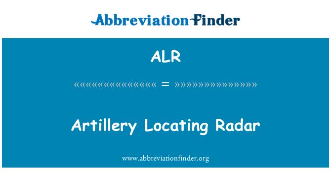 ALR: Artillery Locating Radar