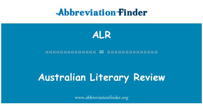 ALR: Australian Literary Review