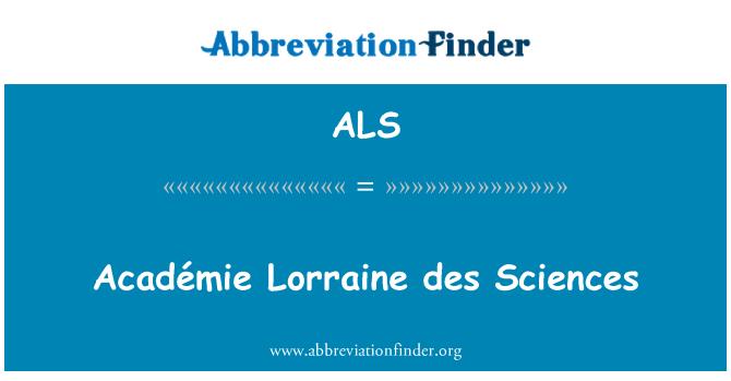 ALS: Académie Lorraine des Sciences