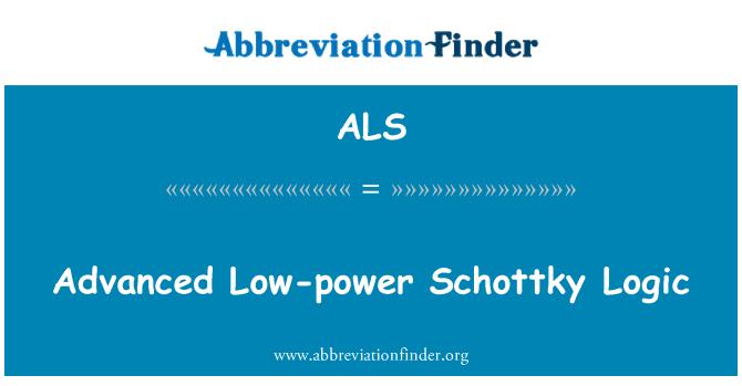 ALS: Advanced Low-power Schottky Logic