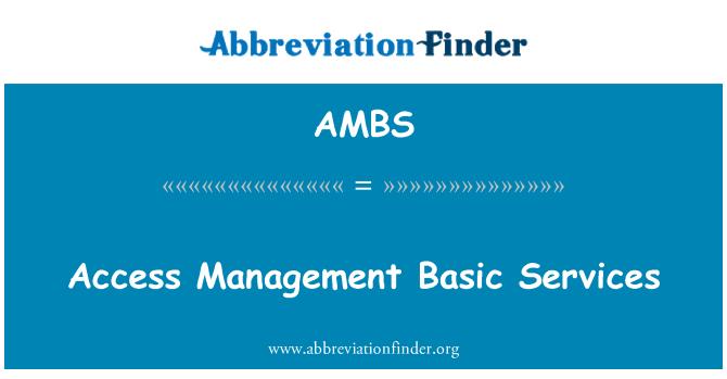 AMBS: Juurdepääsu haldamise põhiteenuste