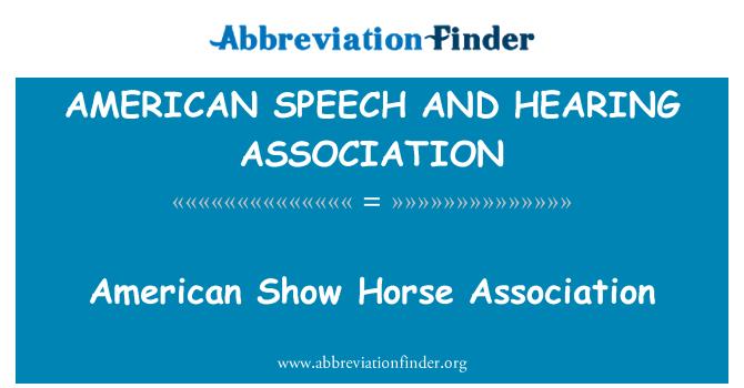 AMERICAN SPEECH AND HEARING ASSOCIATION: Amerikos Rodyti arklių asociacija
