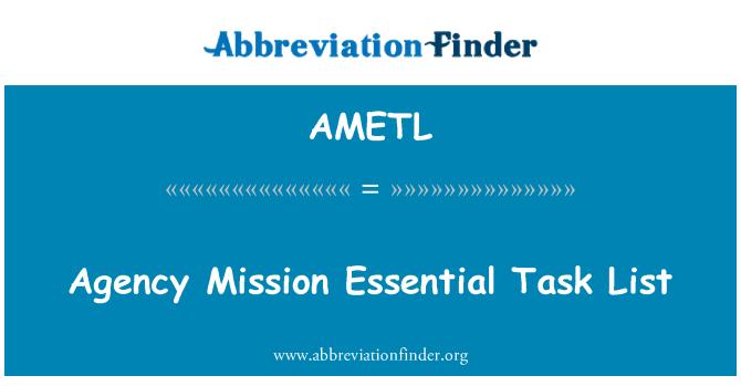 AMETL: Agency Mission Essential Task List