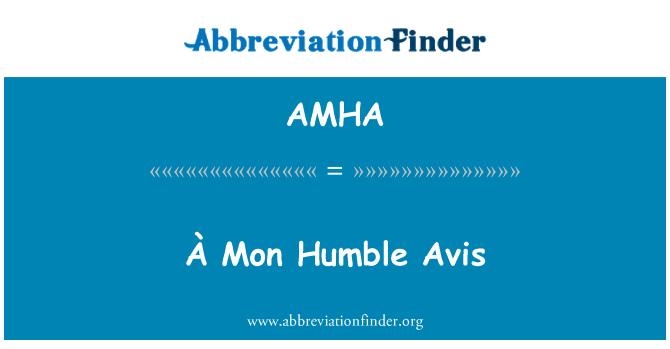 AMHA: À Mon Avis humilde