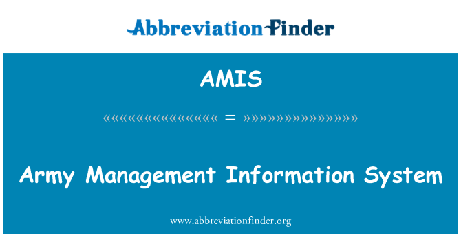 AMIS: Army Management Information System