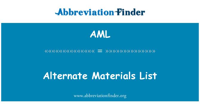 AML: Alternate Materials List