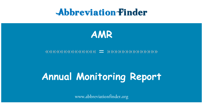 AMR: Annual Monitoring Report