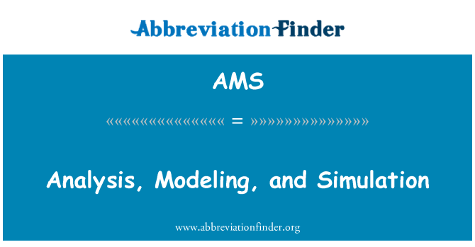 AMS: Analysis, Modeling, and Simulation