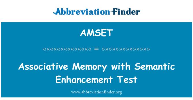 AMSET: Associative Memory with Semantic Enhancement Test