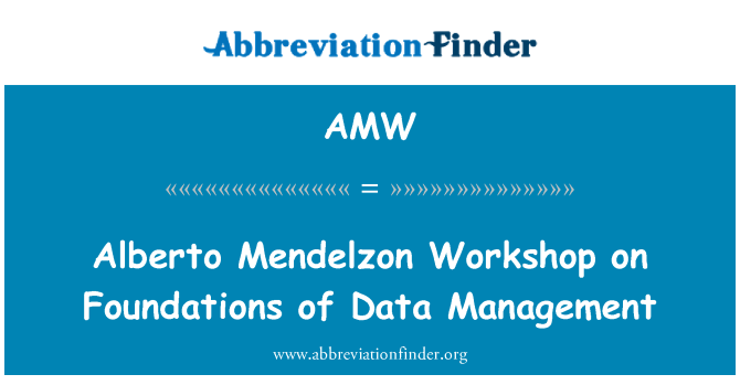 AMW: Alberto Mendelzon Workshop on Foundations of Data Management
