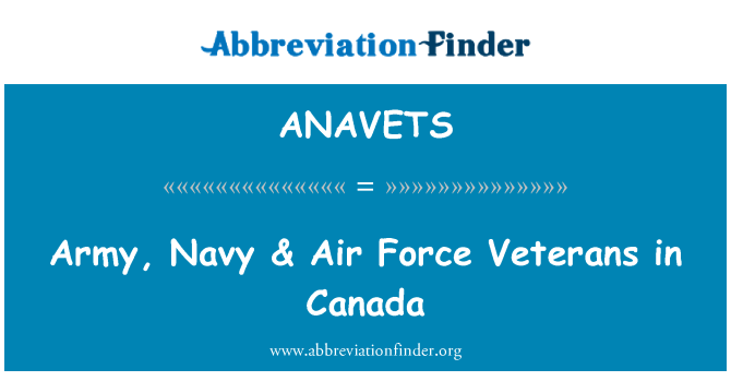 ANAVETS: Army, Navy & Air Force Veterans in Canada