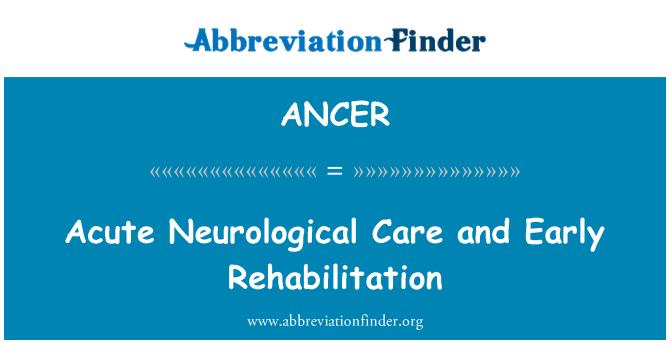 ANCER: Acute Neurological Care and Early Rehabilitation