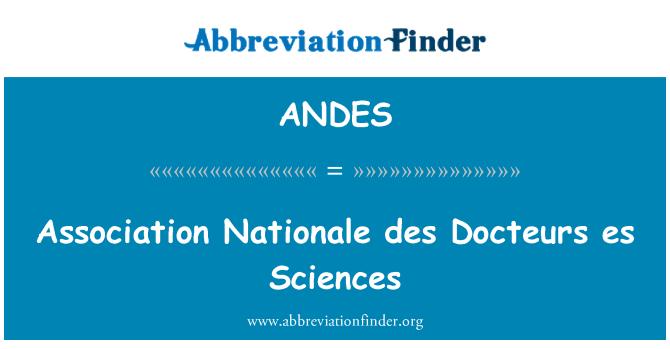ANDES: Association Nationale des Docteurs es Sciences