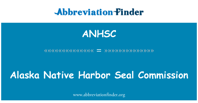 ANHSC: Alaska Native Harbor Seal Commission