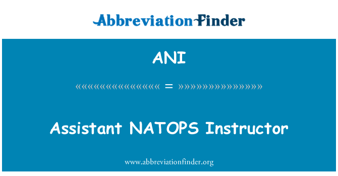 ANI: Assistant NATOPS Instructor