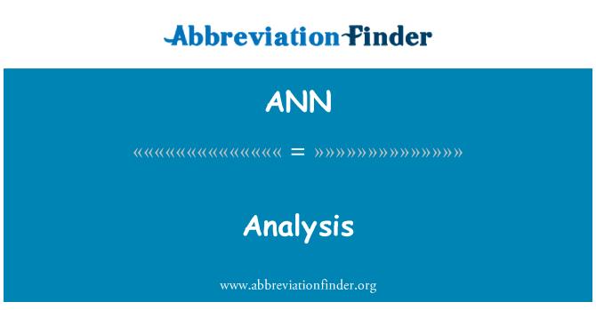 ANN: Analisis
