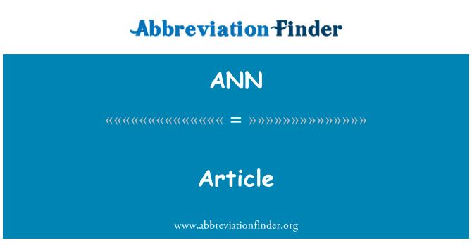 ANN: Artikel