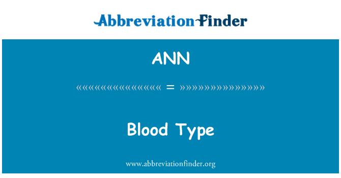 ANN: Jenis darah