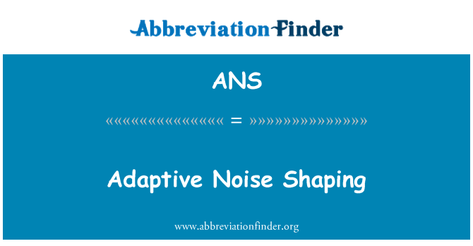ANS: Adaptive Noise Shaping