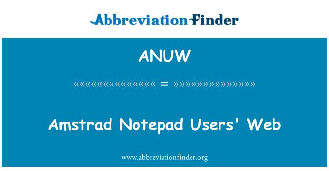 ANUW: Amstrad Notepad Users' Web