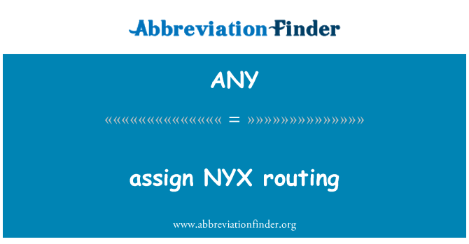 ANY: assign NYX routing