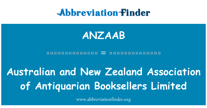 ANZAAB: Australian and New Zealand Association of Antiquarian Booksellers Limited