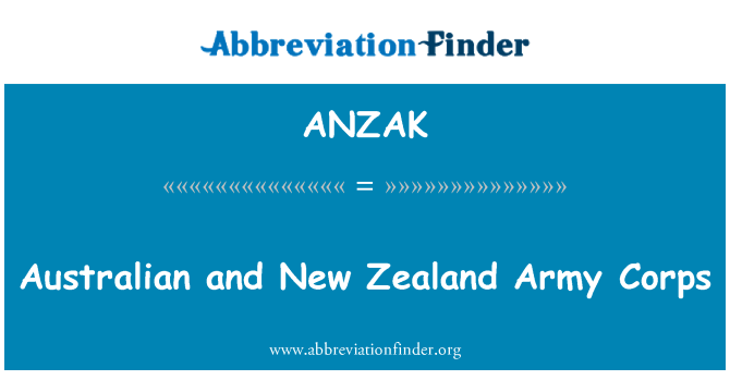 ANZAK: Australian and New Zealand Army Corps