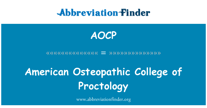 AOCP: Faculdade Osteopática americana de proctologia