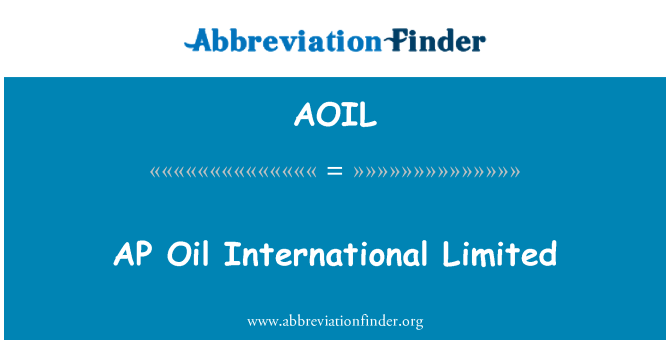 AOIL: AP Oil International Limited