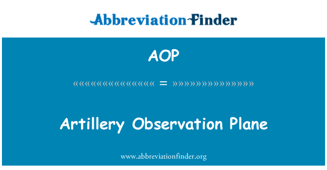 AOP: Artillery Observation Plane