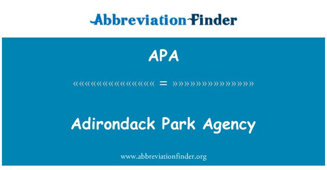 APA: Adirondack Park Agency