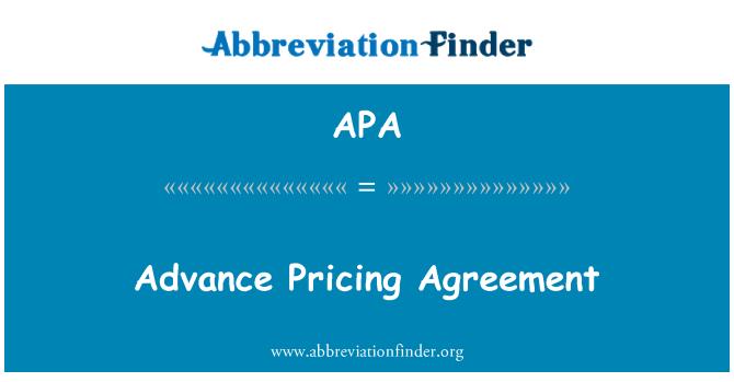 APA: Advance Pricing Agreement
