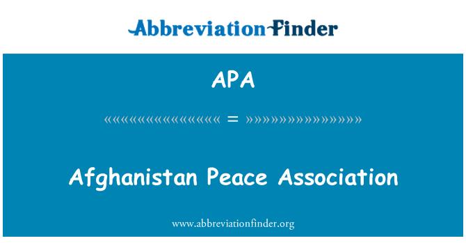APA: Afghanistan Peace Association