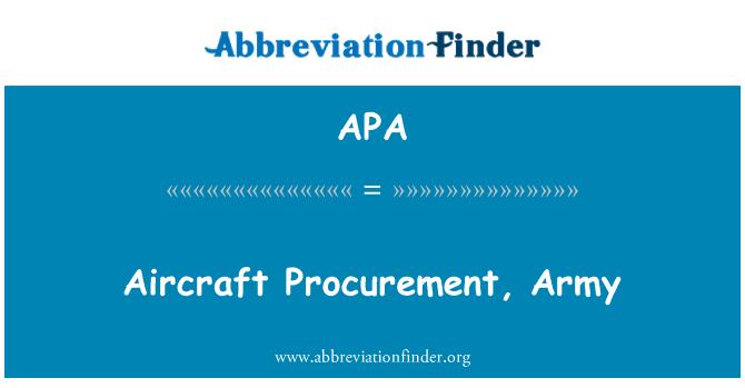 APA: Aircraft Procurement, Army