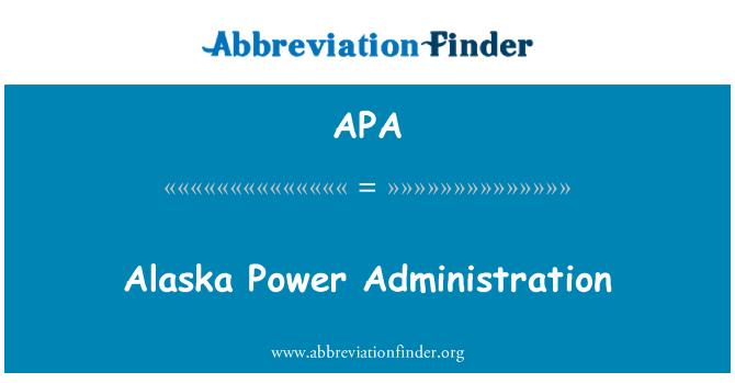 APA: Alaska Power Administration