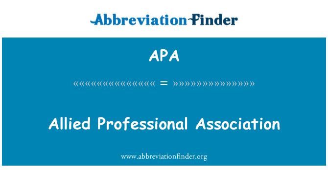APA: Allied Professional Association