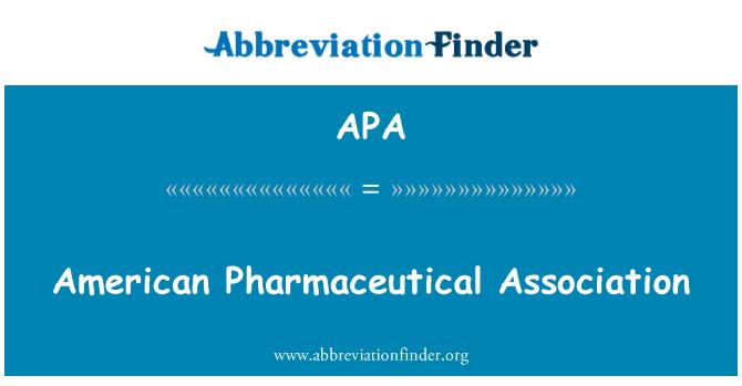 APA: American Pharmaceutical Association