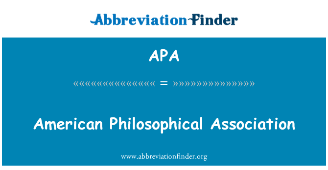 APA: American Philosophical Association