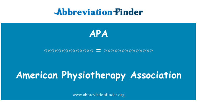 APA: American Physiotherapy Association