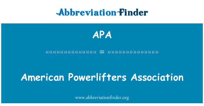 APA: American Powerlifters Association