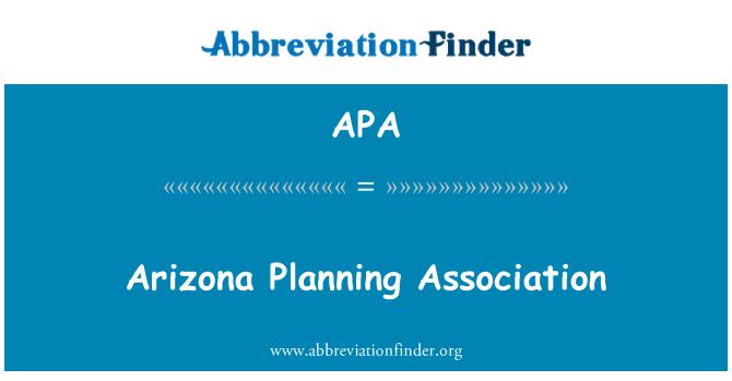 APA: Arizona Planning Association