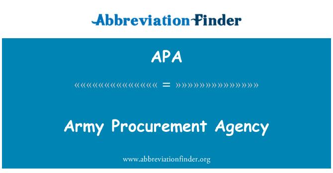 APA: Army Procurement Agency