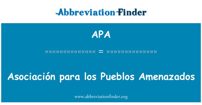 APA: Asociación para los Pueblos Amenazados